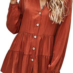 Boho- orange long sleeve silky baby doll top